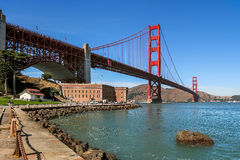 Golden Gate bridge and Fort Point. Royalty Free Stock Images