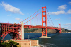 Golden Gate Bridge and Fort Point in the morning. Golden Gate Bridge and Fort Point on a fine winter morning against a backdrop of blue sky with white clouds Royalty Free Stock Photo