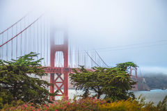 Golden Gate Bridge. From Fort Point, south shore, San Francisco Bay, California, United States. Typical fog in summertime. Symbol, icon and landmark of San Royalty Free Stock Photos