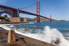 Golden Gate Bridge Fort Point, Waves Royalty Free Stock Images