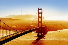 Golden Gate Bridge. And San Francisco Bay at sunset Stock Photography