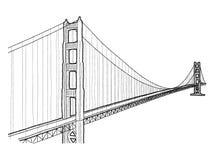 Golden Gate Bridge. Vector Illustration Hand Drawn Landmark Cartoon Art royalty free illustration