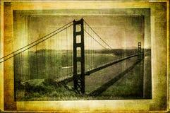 Golden gate bridge i filtrerad och texturerad stil för tappning Royaltyfri Fotografi