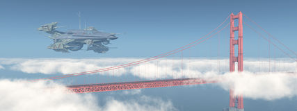 Golden Gate Bridge i ogromny statek kosmiczny ilustracja wektor
