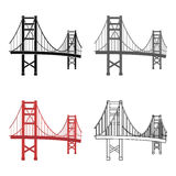 Golden Gate Bridge icon in cartoon style  on white background. USA country symbol stock vector illustration. Royalty Free Stock Photo