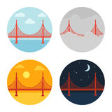 Golden Gate Bridge. Icon set. San Francisco in different time and weather. Flat cartoon vector style Royalty Free Stock Photography
