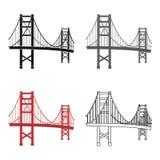 Golden gate bridge-Ikone in der Karikaturart auf weißem Hintergrund USA-Landsymbolvorrat-Vektorillustration Lizenzfreies Stockfoto