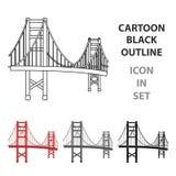 Golden gate bridge-Ikone in der Karikaturart lokalisiert auf weißem Hintergrund USA-Landsymbolvorrat-Vektorillustration Stockfoto