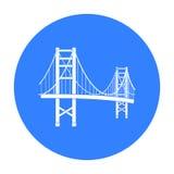 Golden gate bridge-Ikone in der schwarzen Art lokalisiert auf weißem Hintergrund USA-Landsymbolvorrat-Vektorillustration Lizenzfreie Stockfotografie