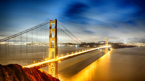 Golden Gate Bridge. Illuminated San Francisco Royalty Free Stock Image