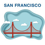 Golden gate bridge-Illustration im Papier gemacht, Art zu schneiden Lizenzfreies Stockbild