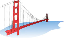 Golden Gate Bridge. An illustration of the Golden Gate Bridge, a suspension bridge spanning the Golden Gate strait, the mile-wide, three-mile-long channel Stock Images
