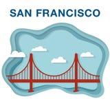 Golden gate bridge ilustracja robić w papierze ciąć styl Obraz Royalty Free