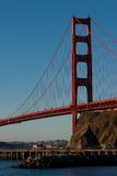 Golden Gate Bridge just after sunrise. Seen from Marin County side Royalty Free Stock Image