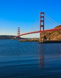 Golden Gate Bridge just after sunrise. Seen from Marin County side Stock Images