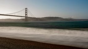 Golden Gate Bridge from Kirby Cove Beach in the morning, San Fr Royalty Free Stock Image