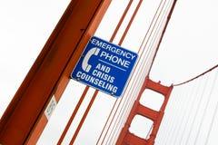 Golden gate bridge-Krise, die Zeichen berät Lizenzfreies Stockbild