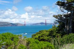 Golden Gate Bridge in Lands End, San Francisco. The view in spring in Lands End, San Francisco, CA, U.S stock photography