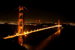 Golden Gate Bridge in lights Stock Photos