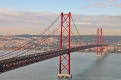 Golden gate bridge in Lisbon. Bridge of 25th April, Lisbon, Portugal Stock Image