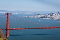 Golden Gate Bridge looking back toward city of San Francisco Royalty Free Stock Image