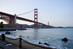 Golden Gate Bridge low angle perspective Royalty Free Stock Photo