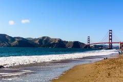 Golden Gate bridge and Marin Headlands from Baker Beach stock images