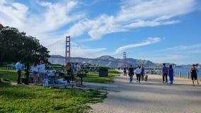 Golden gate bridge-Mening van het gebied van San Francisco Picnic stock fotografie
