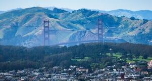 Golden gate bridge-mening van tweelingpieken San Francisco Stock Fotografie