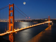 Golden Gate Bridge with Moon light. From Marin County, San Francisco, California Royalty Free Stock Photo