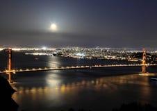 Golden gate bridge at moon rise Stock Images