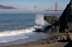 The Golden Gate Bridge in the Morning Fog Stock Photos