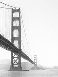 Golden Gate Bridge in the morning fog, San Francisco, California, USA. Black and white image Royalty Free Stock Images