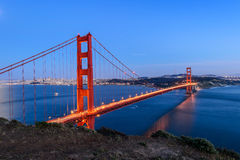 Golden gate bridge na noite, San Francisco Fotografia de Stock Royalty Free