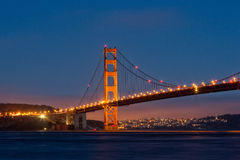 Golden Gate Bridge Near Dark, from Fort Baker Stock Image