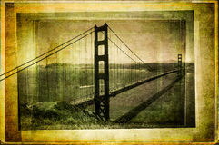 Golden gate bridge nello stile filtrato e strutturato dell'annata Fotografia Stock Libera da Diritti