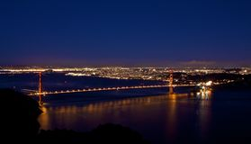 Golden Gate Bridge By Night stock photography