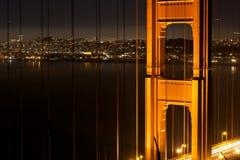 Golden Gate Bridge at night. Shot from Marin Headlands towards San Francisco Royalty Free Stock Photo