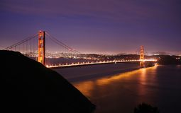 Golden Gate Bridge at night. Golden Gate Bridge and San Francisco skyline at night Stock Photo