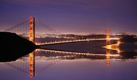 Golden Gate Bridge at night. Golden Gate Bridge reflection at night Royalty Free Stock Image