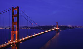 Golden Gate Bridge at night. Golden Gate Bridge at dusk Stock Images