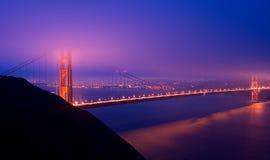 Golden Gate Bridge at night. During fog Royalty Free Stock Photo