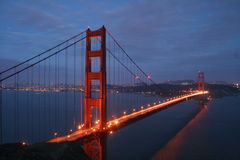 Golden Gate Bridge Night. View of the famous Golden Gate Bridge.  Shoot from Vista Point over looking San Francisco, CA Royalty Free Stock Photography