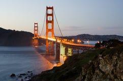 Golden Gate Bridge at night. Famous California and USA landmark on the West Coast Royalty Free Stock Photos