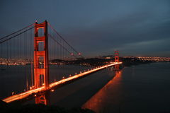 Golden Gate Bridge Night Light Royalty Free Stock Photos