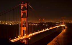 Golden Gate Bridge at night. A long-exposure photograph of the Golden Gate Bridge at night, crossing San Franciso Bay in California Stock Image