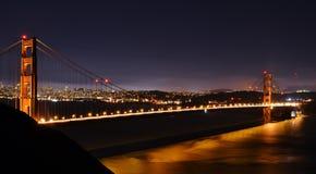Golden Gate Bridge at night. A long-exposure photograph of the Golden Gate Bridge at night, crossing San Franciso Bay in California Stock Photo