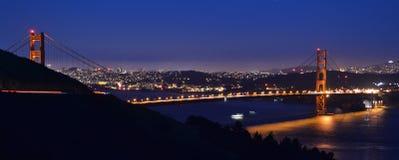 Golden Gate Bridge at night. A long-exposure photograph of the Golden Gate Bridge at night, crossing San Franciso Bay in California Royalty Free Stock Image