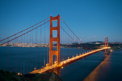 Golden Gate Bridge at night in San Francisco Royalty Free Stock Photography