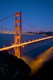 Golden Gate Bridge at night in San Francisco royalty free stock image